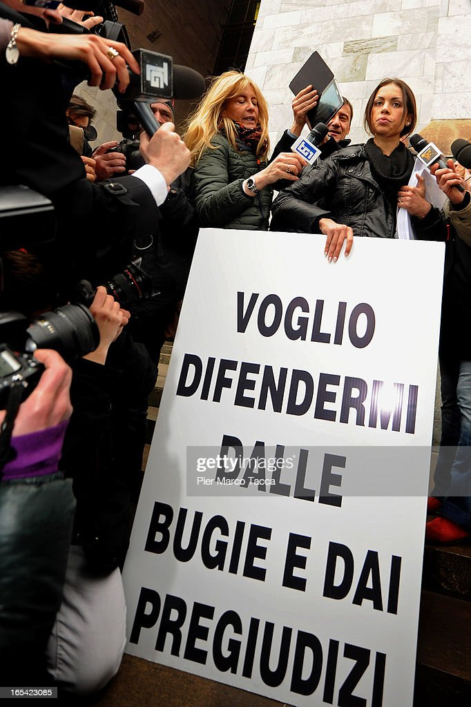 Karima El Mahroug protests in front of Palazzo di Giustizia on April 4 2013 in Milan Italy Karima El Mahroug better known as 'Ruby the Heart Stealer'...