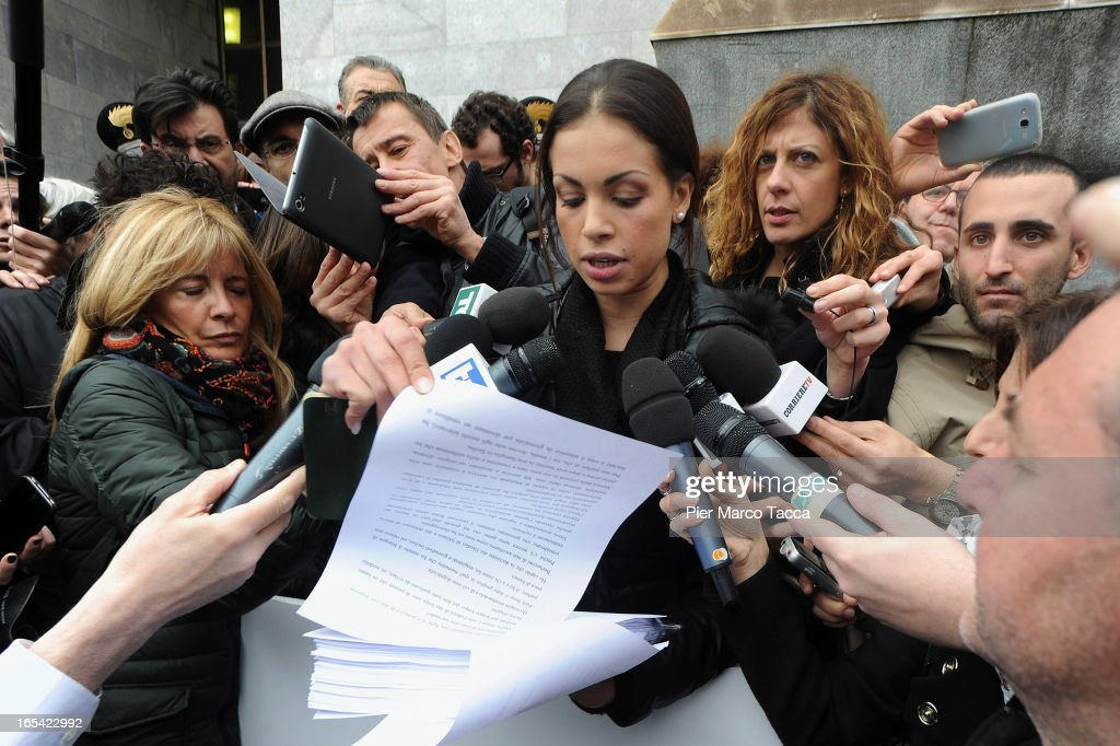Karima El Mahroug reads a statement to members of the media as she protests in front of Palazzo di Giustizia on April 4 2013 in Milan Italy Karima El...