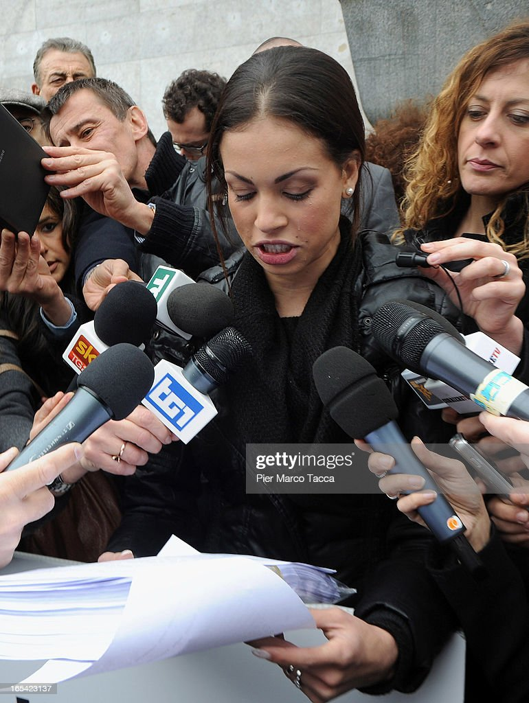 Karima El Mahroug reads a statement to members of the media during a protest in front of Palazzo di Giustizia on April 4 2013 in Milan Italy Karima...