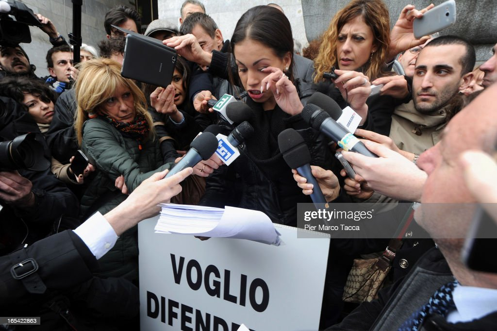Karima El Mahroug speaks to members of the media during a protest in front of Palazzo di Giustizia on April 4 2013 in Milan Italy Karima El Mahroug...