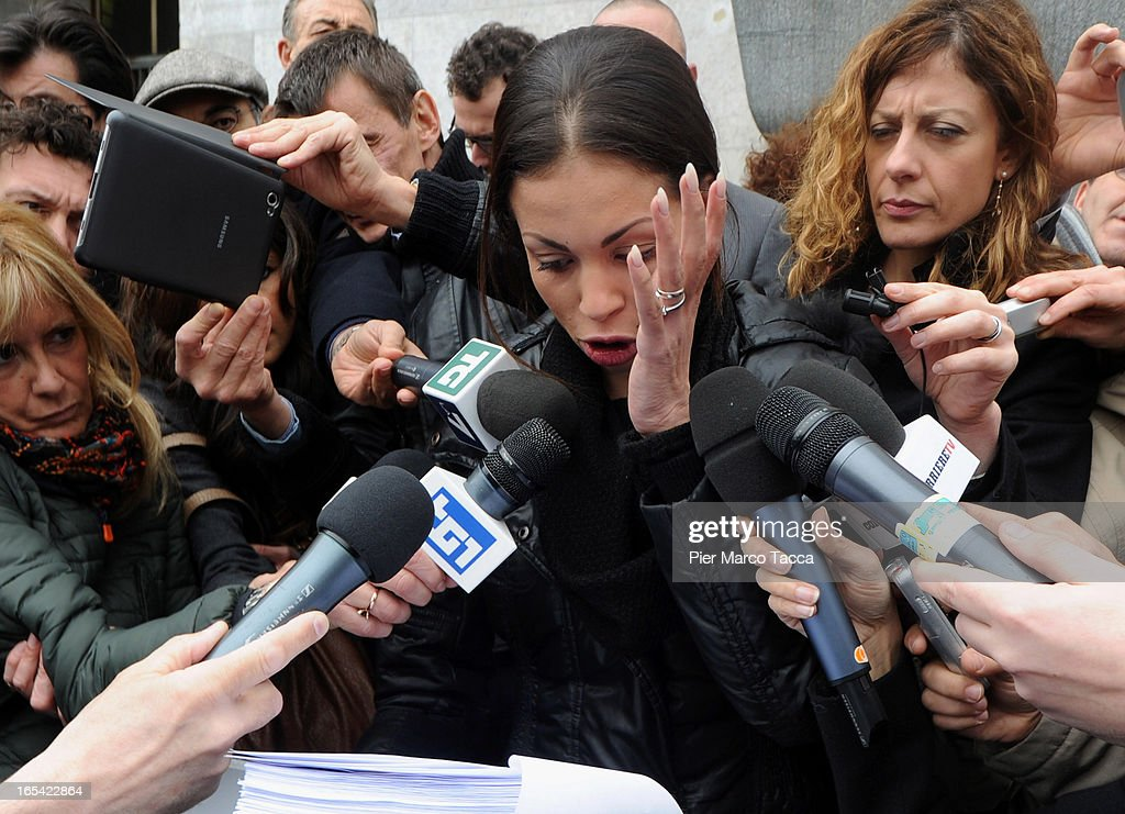 Karima El Mahroug speaks to memners of the media during a protest in front of Palazzo di Giustizia on April 4 2013 in Milan Italy Karima El Mahroug...