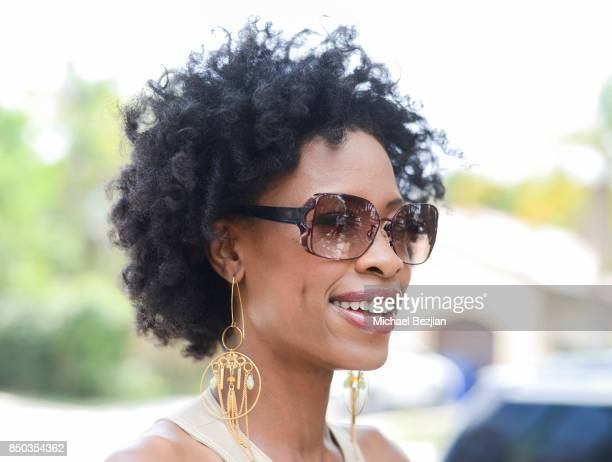 Karimah Westbrook wearing Black Flys sunglasses at New Faces At The Artists Project on September 20 2017 in Los Angeles California