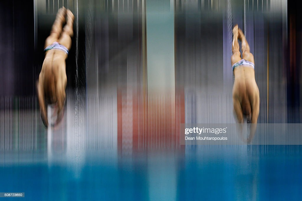 Karimi Hamid and Valipour Mojtaba of Iran compete in the Synchronised men 3m springboard competition during the Senet Diving Cup held at Pieter van den Hoogenband Swimming Stadium on February 6, 2016 in Eindhoven, Netherlands.