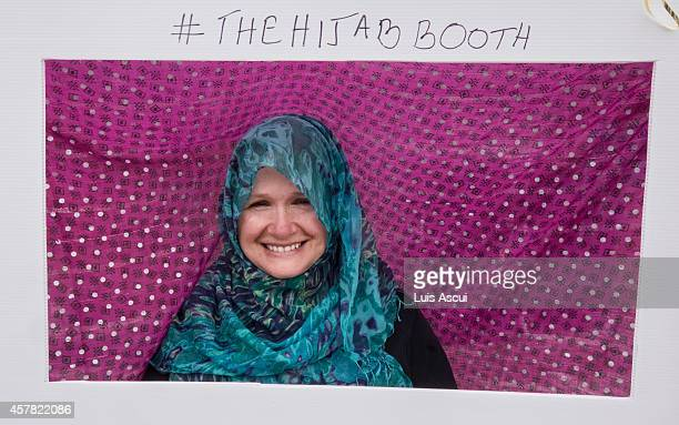 Karin Albrecht poses in a Hijab booth on National Mosque open day at the Werribee Islamic Centre in the suburb of Hoppers Crossing on October 25 2014...