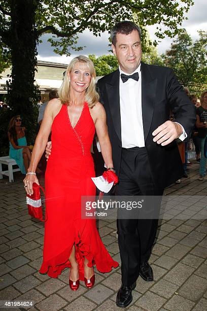 Karin Baumueller and Markus Soeder attend the Bayreuth Festival 2015 Opening on July 25 2015 in Bayreuth Germany
