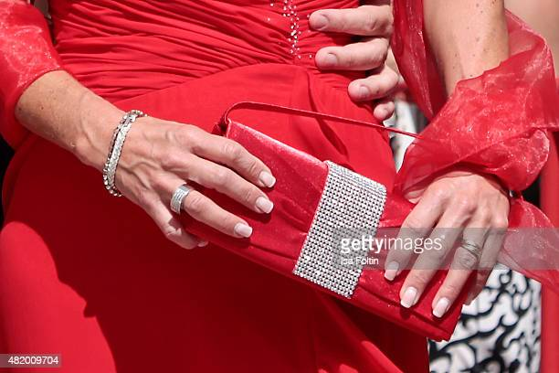 Karin Baumueller bag detail at the Bayreuth Festival 2015 Opening on July 25 2015 in Bayreuth Germany