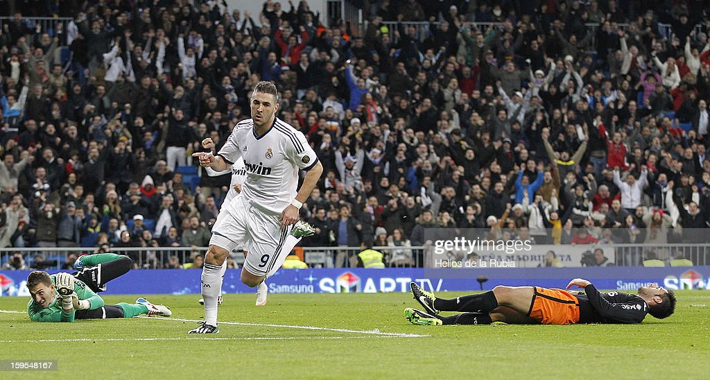 Karin Benzema (C) of Real Madrid celebrates after scoring during the Copa del Rey Quarter Final match between Real Madrid and Valencia at Estadio Santiago Bernabeu on January 15, 2013 in Madrid, Spain.