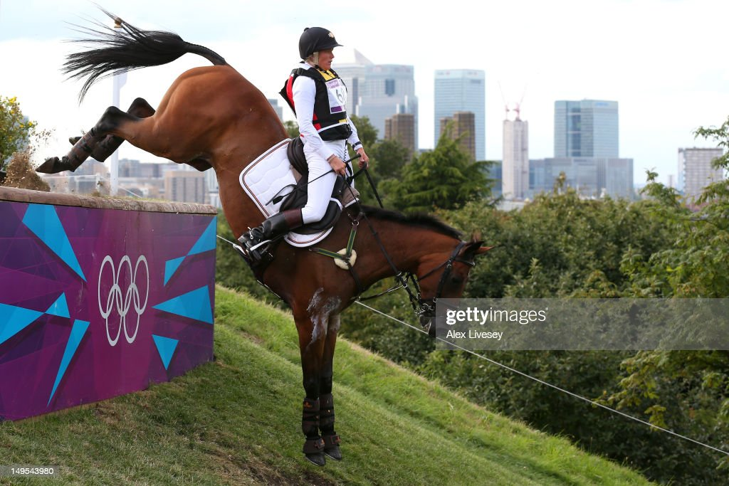 Karin Donckers of Belgium riding Gazelle de la Brasserie negotiates a drop in the Eventing Cross Country Equestrian event on Day 3 of the London 2012 Olympic Games at Greenwich Park on July 30, 2012 in London, England.