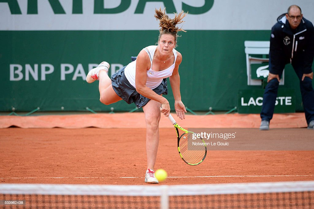 Karin Knapp during the Women's Singles first round on day three of the French Open 2016 at Roland Garros on May 24, 2016 in Paris, France.