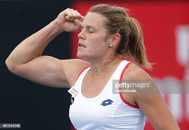 Karin Knapp of Italy celebrates winning match point in her second round match against Casey Dellacqua of Australia during day five of the Hobart...