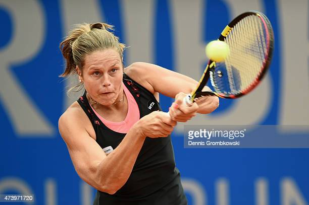 Karin Knapp of Italy plays a backhand in her match against AnnaLena Groenefeld of Germany during Day Three of the Nuernberger Versicherungscup 2015...