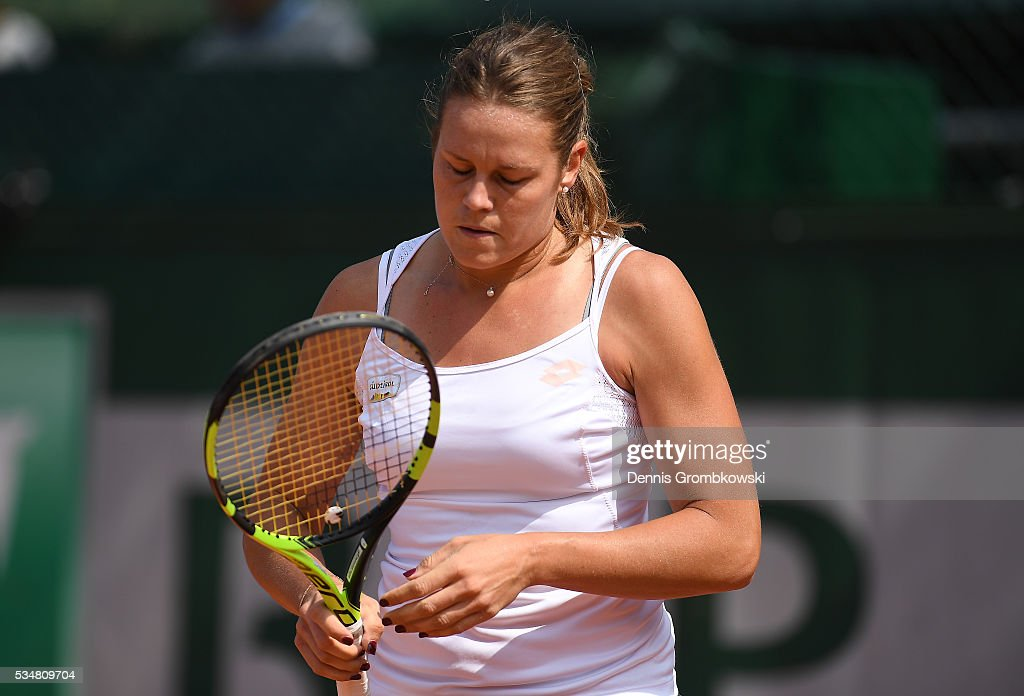 <a gi-track='captionPersonalityLinkClicked' href=/galleries/search?phrase=Karin+Knapp&family=editorial&specificpeople=4288619 ng-click='$event.stopPropagation()'>Karin Knapp</a> of Italy reacts during the Ladies Singles third round match against Yulia Putintseva of Kazakhstan on day seven of the 2016 French Open at Roland Garros on May 28, 2016 in Paris, France.