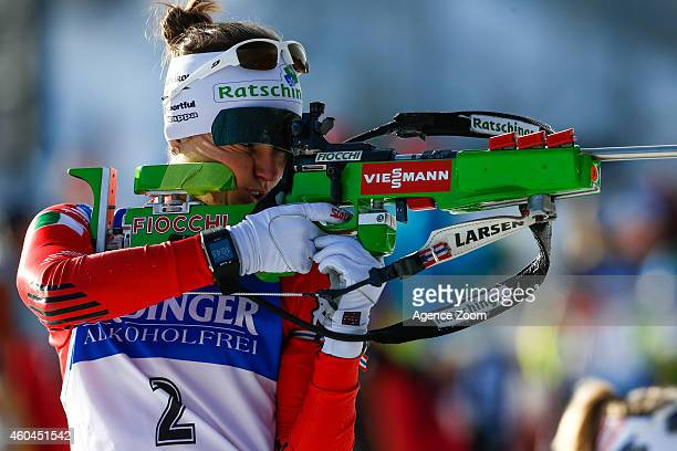 Karin Oberhofer of Italy competes during the IBU Biathlon World Cup Men's and Women's Pursuit on December 14 2014 in Hochfilzen Austria
