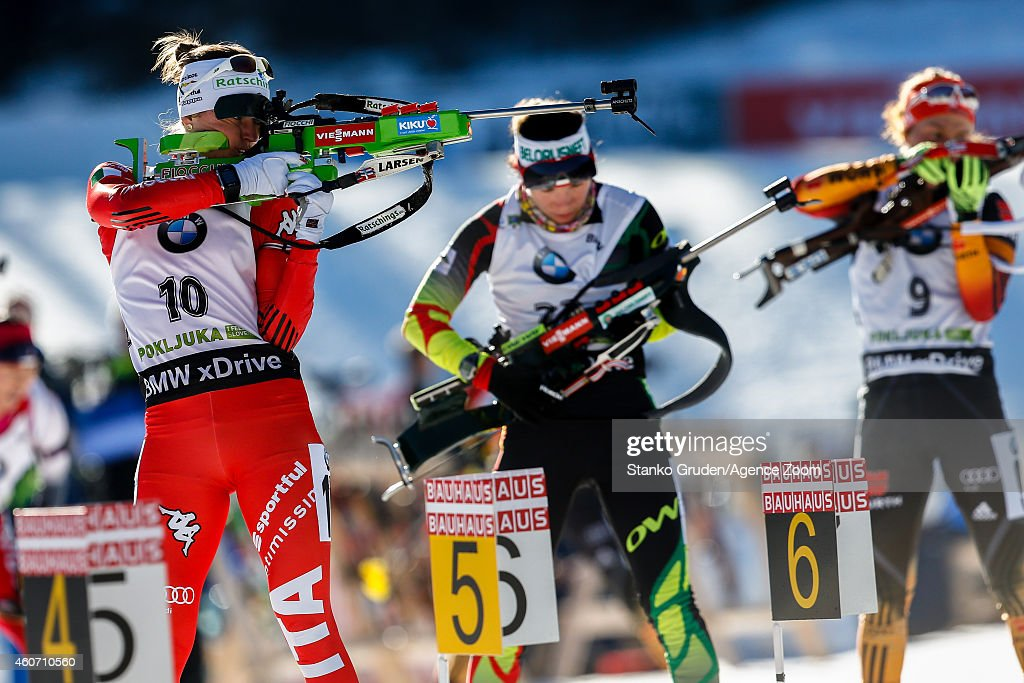 <a gi-track='captionPersonalityLinkClicked' href=/galleries/search?phrase=Karin+Oberhofer&family=editorial&specificpeople=6690558 ng-click='$event.stopPropagation()'>Karin Oberhofer</a> of Italy competes during the IBU Biathlon World Cup Men's and Women's Pursuit on December 20, 2014 in Pokljuka, Slovenia.