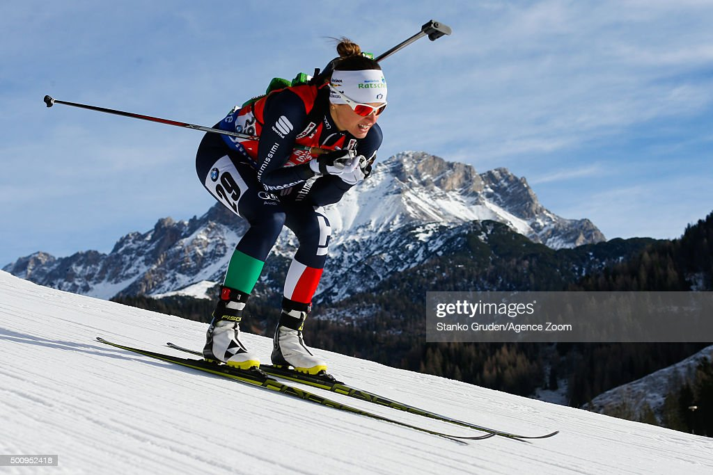 <a gi-track='captionPersonalityLinkClicked' href=/galleries/search?phrase=Karin+Oberhofer&family=editorial&specificpeople=6690558 ng-click='$event.stopPropagation()'>Karin Oberhofer</a> of Italy competes during the IBU Biathlon World Cup Men's and Women's Sprint on December 11, 2015 in Hochfilzen, Austria.