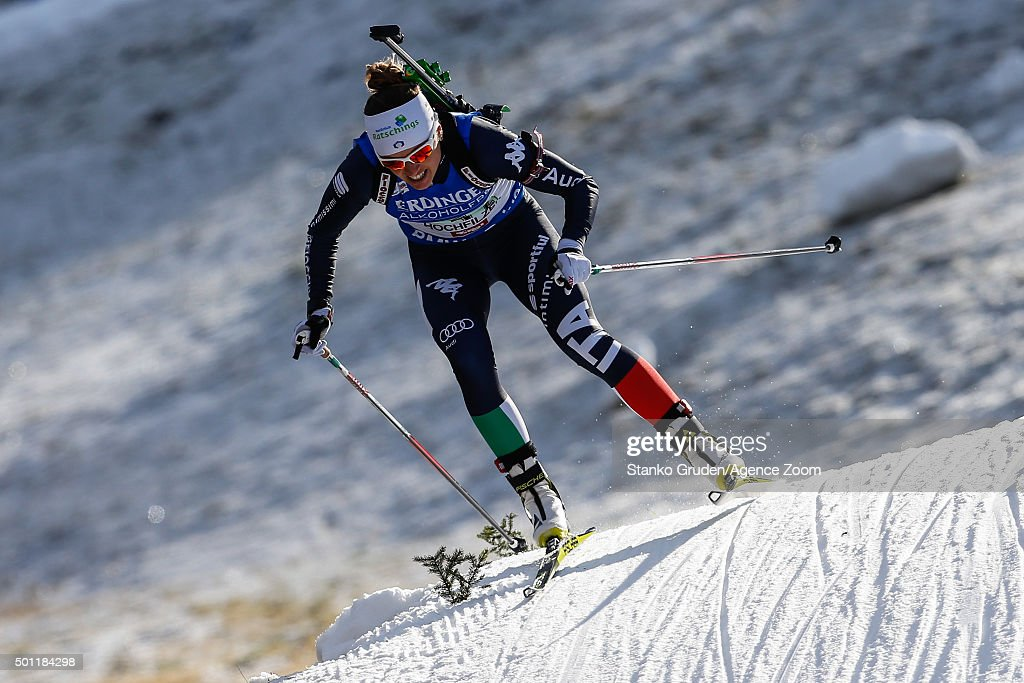 <a gi-track='captionPersonalityLinkClicked' href=/galleries/search?phrase=Karin+Oberhofer&family=editorial&specificpeople=6690558 ng-click='$event.stopPropagation()'>Karin Oberhofer</a> of Italy takes 1st place during the IBU Biathlon World Cup Men's and Women's Relay on December 13, 2015 in Hochfilzen, Austria.