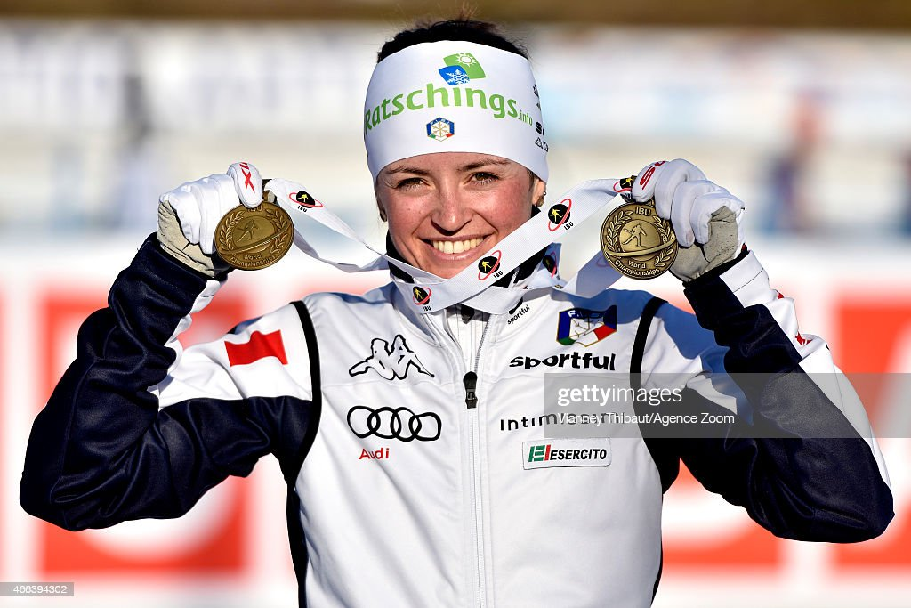 <a gi-track='captionPersonalityLinkClicked' href=/galleries/search?phrase=Karin+Oberhofer&family=editorial&specificpeople=6690558 ng-click='$event.stopPropagation()'>Karin Oberhofer</a> of Italy takes 3rd place during the IBU Biathlon World Championships Men's and Women's Mass Start on March 15, 2015 in Kontiolahti, Finland.