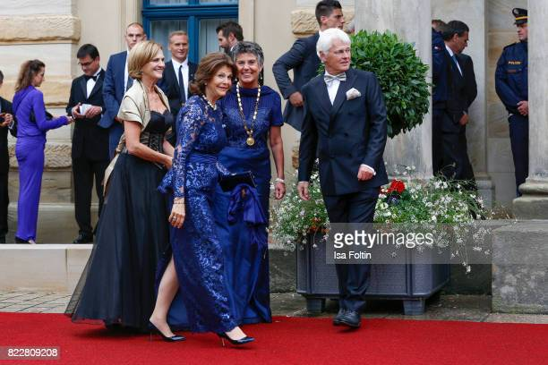 Karin Seehofer Queen Silvia of Sweden Mayor of Bayreuth Brigitte MerkErbe and her husband Thomas Erbe attend the Bayreuth Festival 2017 Opening on...