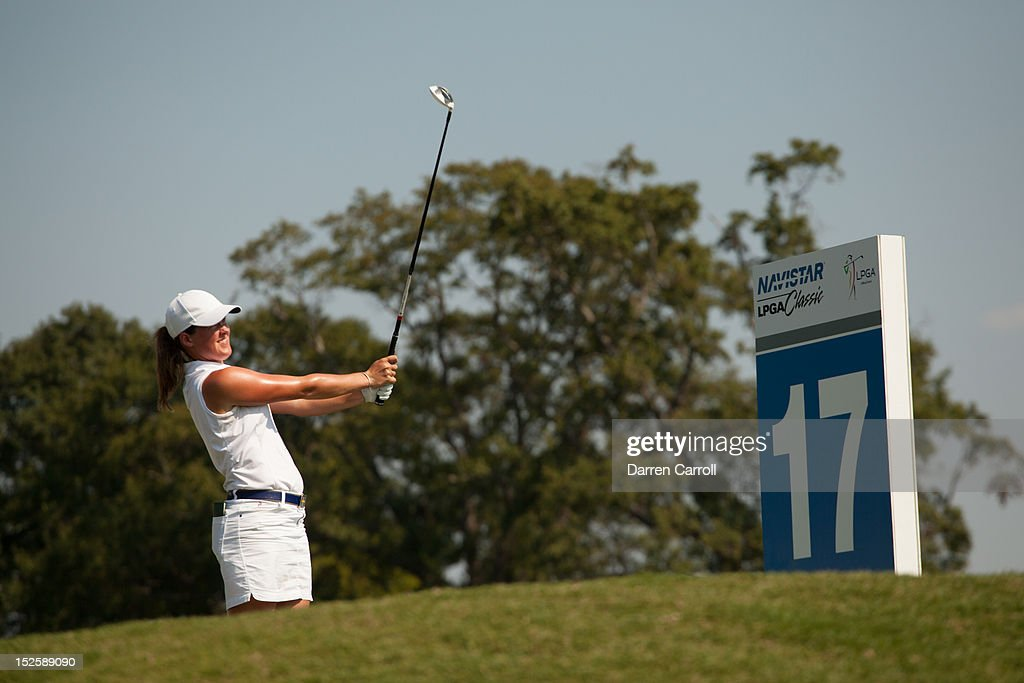 <a gi-track='captionPersonalityLinkClicked' href=/galleries/search?phrase=Karin+Sjodin&family=editorial&specificpeople=201174 ng-click='$event.stopPropagation()'>Karin Sjodin</a> of Sweden plays a tee shot at the 17th hole during the third round of the 2012 Navistar LPGA Classic at the Robert Trent Jones Golf Trail's Senator Course at Capitol Hill on September 22, 2012 in Prattville, Alabama.