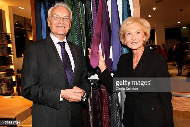 Karin Stoiber and his wife Karin attend the Hirmer store reopening on October 22 2014 in Munich Germany