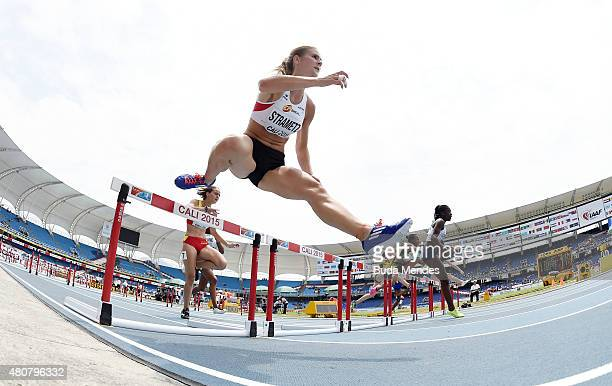 Karin Strametz of Austria in action during round one of the girls 100m Hurdles on day one of the IAAF World Youth Championships Cali 2015 on July 15...