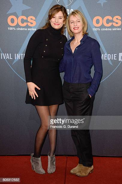Karin Viard and Alice Pol arrive at the closing ceremony of the 18th L'Alpe D'Huez International Comedy Film Festival on January 16 2016 in Alpe...