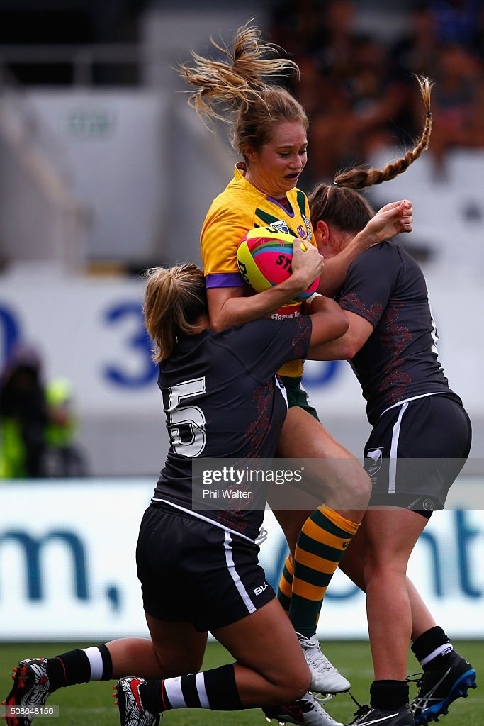 <a gi-track='captionPersonalityLinkClicked' href=/galleries/search?phrase=Karina+Brown&family=editorial&specificpeople=214059 ng-click='$event.stopPropagation()'>Karina Brown</a>f the Australian Jillaroos is tackled during the 2016 Auckland Nines match between the Australian Jillaroos and the New Zealand Ferns at Eden Park on February 6, 2016 in Auckland, New Zealand.
