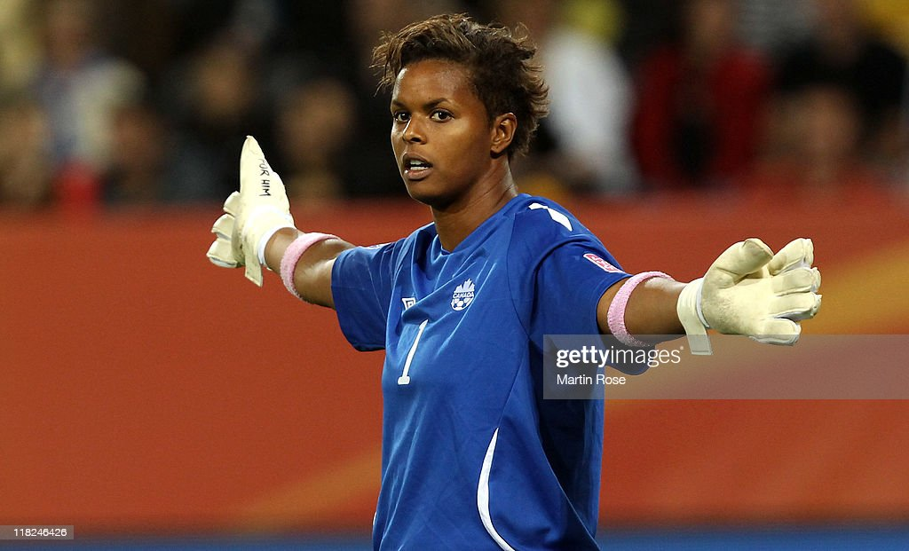 Karina LeBlanc, goalkeeper of Canada gives instructions during the FIFA Women's World Cup 2011 Group A match between Canada and Nigeria at Rudolf-Harbig-Stadion on July 5, 2011 in Dresden, Germany.