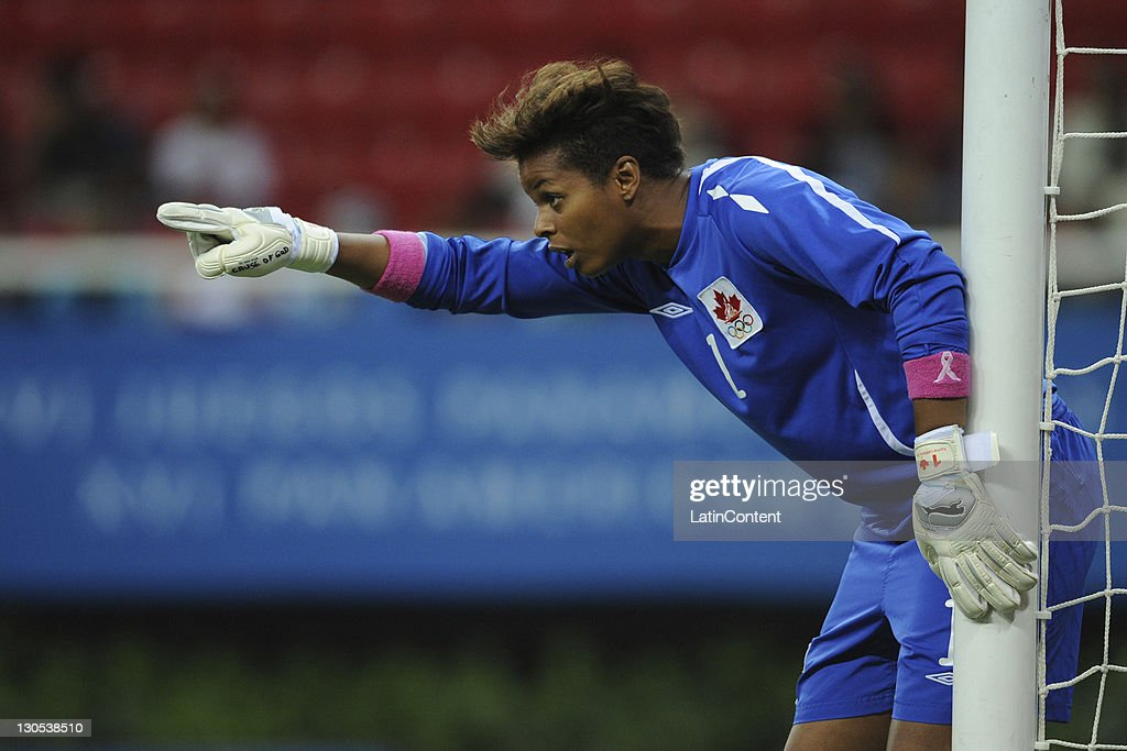 Karina Leblanc of Canada and during the match between Canada and Colombia in the 2011 XVI Pan American Games at Omnilife stadium on October 25, 2011 in Zapopan, Mexico.