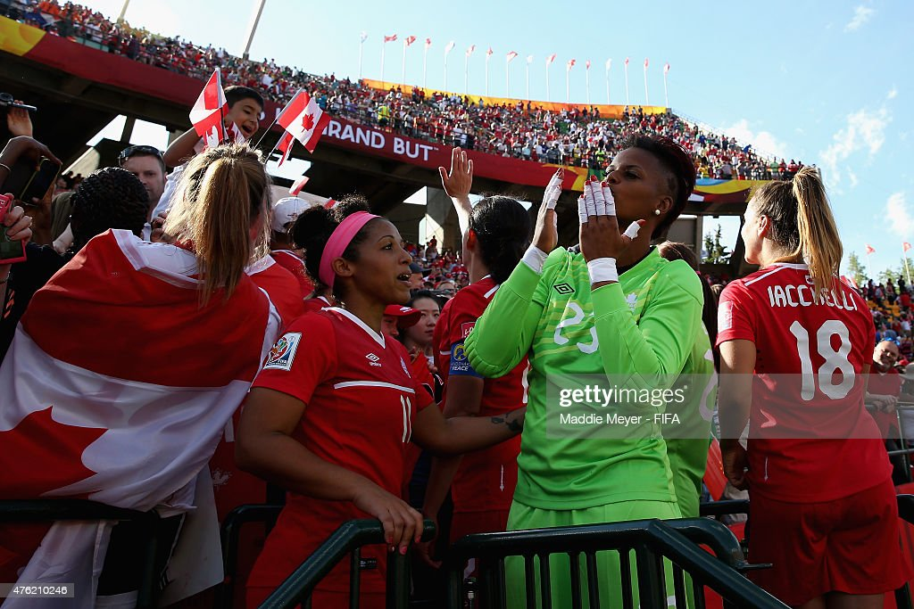 Karina LeBlanc #23 of Canada blows kisses to fans following the FIFA Women's World Cup Canada 2015 Group A match between Canada and China PR at Commonwealth Stadium on June 6, 2015 in Edmonton, Alberta, Canada. Canada defeat China PR