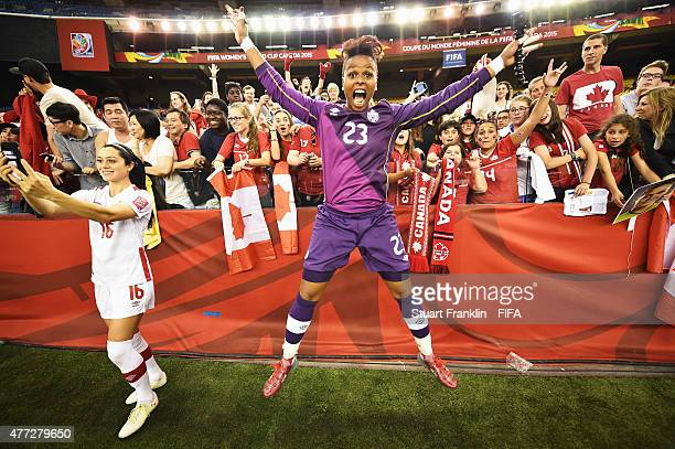 Karina LeBlanc of Canada celebrates with fans at the end of the FIFA Women's World Cup Group A match between Netherlands and Canada at Olympic...