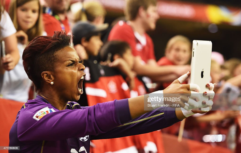 <a gi-track='captionPersonalityLinkClicked' href=/galleries/search?phrase=Karina+LeBlanc&family=editorial&specificpeople=2473661 ng-click='$event.stopPropagation()'>Karina LeBlanc</a> of Canada celebrates with fans at the end of the FIFA Women's World Cup Group A match between Netherlands and Canada at Olympic Stadium on June 15, 2015 in Montreal, Canada.