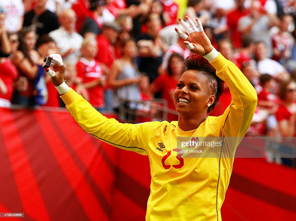 Karina LeBlanc #23 of Canada waves to the fans after Canada's win at the FIFA Women's World Cup Canada 2015 Round 16 match between Switzerland and Canada June 21, 2015 at BC Place Stadium in Vancouver, British Columbia, Canada. Canada won 1-0.