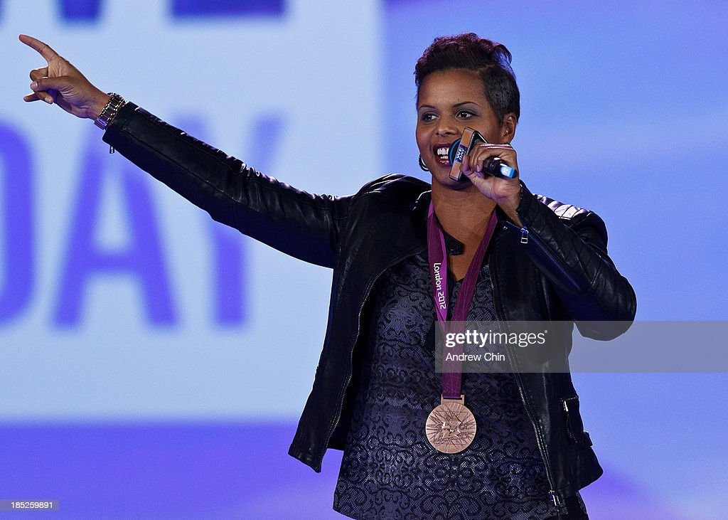Karina LeBlanc speaking on We Day at Rogers Arena on October 18, 2013 in Vancouver, Canada.