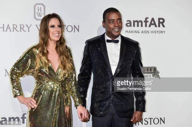 Karina Maluf and Seu Jorge attends the 7th Annual amfAR Inspiration Gala on April 27 2017 in Sao Paulo Brazil