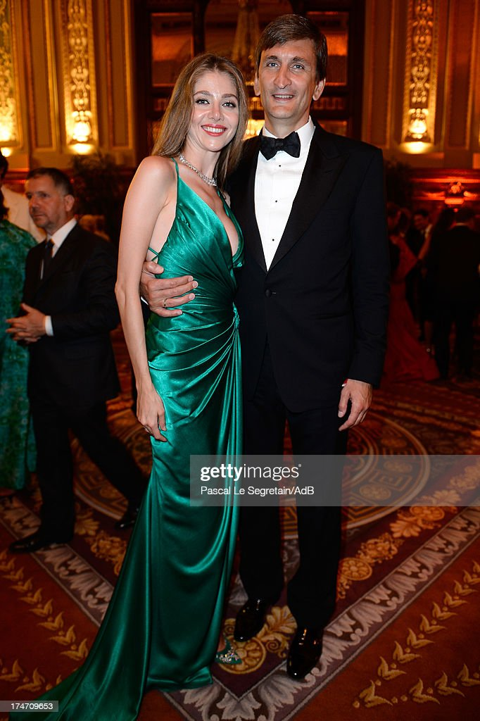 Karina Marchenko and Vladimir Marchenko attend the dinner at 'Love Ball' hosted by Natalia Vodianova in support of The Naked Heart Foundation at Opera Garnier on July 27, 2013 in Monaco, Monaco.