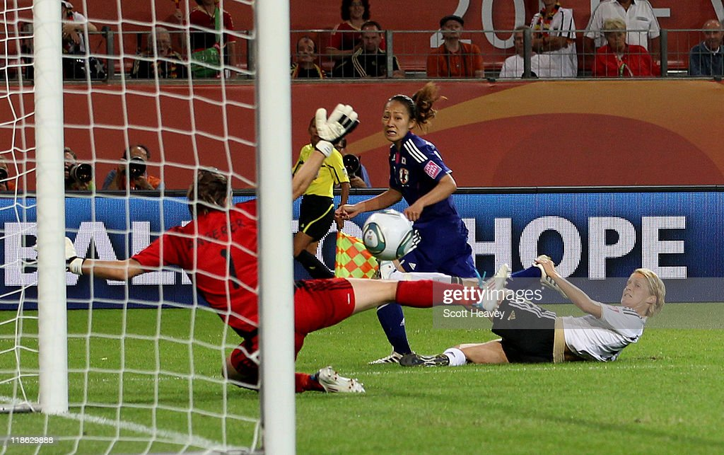 Karina Maruyama of Japan scores their first goal during the FIFA Women's World Cup 2011 Quarter Final match between Germany and Japan at Wolfsburg Area on July 9, 2011 in Wolfsburg, Germany.