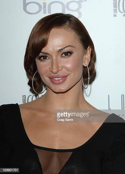 Karina Smirnoff arrives at the Los Angeles Confidential Magazine's Fall Fashion Issue Party at The London Hotel on August 25 2010 in West Hollywood...