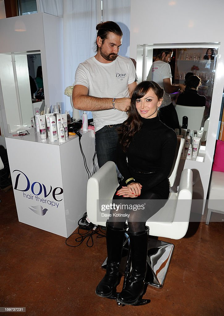 Karina Smirnoff at the Dove® Color Care Salon in Park City as she get tips for keeping her hair vibrant from celebrity stylist Matt Fugate on January 19, 2013 in Park City, Utah.