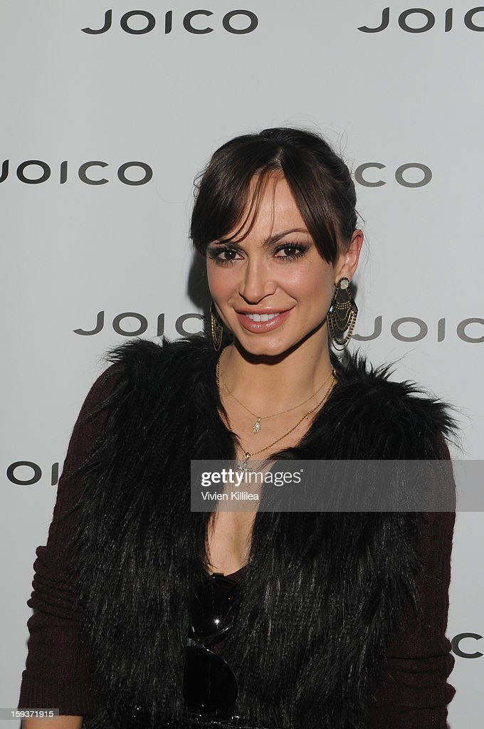 <a gi-track='captionPersonalityLinkClicked' href=/galleries/search?phrase=Karina+Smirnoff&family=editorial&specificpeople=4029232 ng-click='$event.stopPropagation()'>Karina Smirnoff</a> attends Turning Heads With Joico Hair Care At Colgate's Pre Golden Globe Beauty Bar on January 12, 2013 in West Hollywood, California.