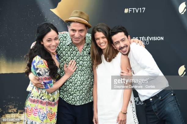 Karina Testa Simon Abkarian Stephanie Pasterkamp and Faycal Azizi from 'Kaboul Kitchen' TV Show poses for a Photocall during the 57th Monte Carlo TV...