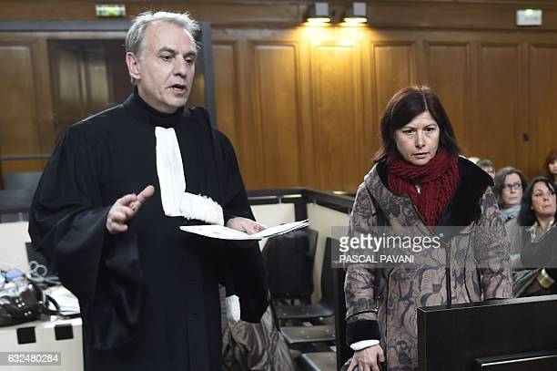 Karine Bonhoure mother of 17yearold Lea who was raped and murdered in 2011 and her lawyer Marc Gallix attend the opening of the appeal trial of...
