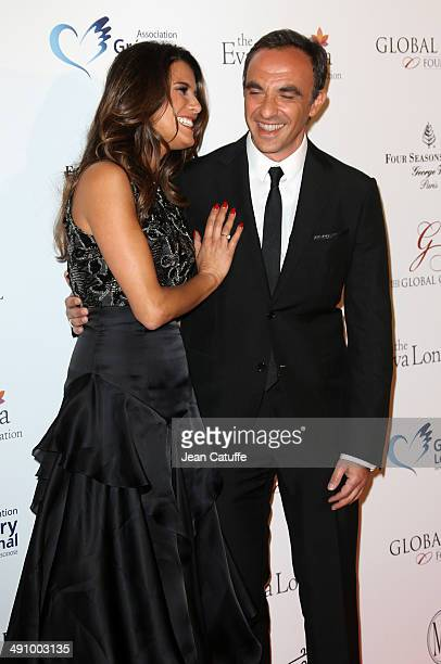 Karine Ferri and Nikos Aliagas attend the 'Global Gift Gala' 2014 Charity Dinner At The Four Seasons Hotel George V on May 12 2014 in Paris France