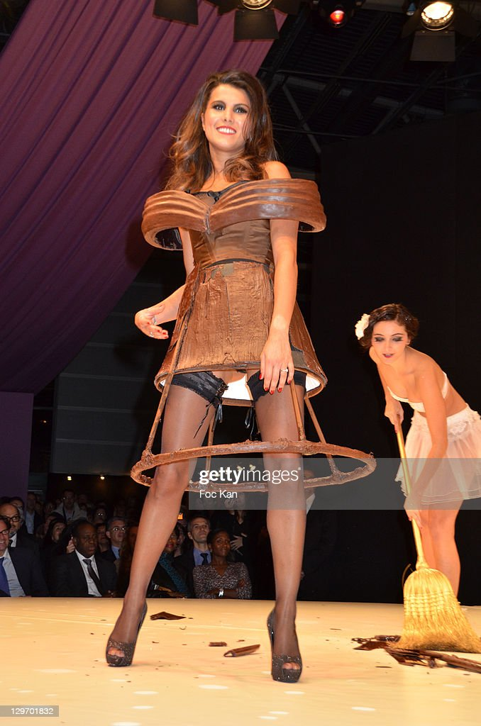 Karine Ferri Dressed By Christian Courcelles And Vincent Guerlais WireImage