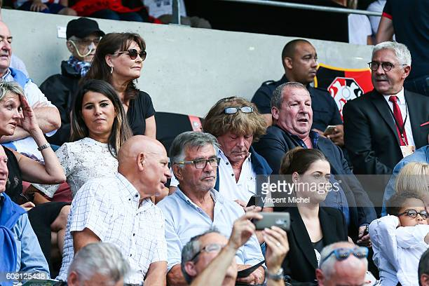 Karine Ferri wife of Yoann Gourcuff and Rolland Courbis during the french Ligue 1 match between Stade Rennais and SM Caen at Stade de la Route de...