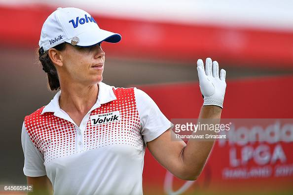 Karine Icher of France acknowledges the fan during the final round of Honda LPGA Thailand at Siam Country Club on February 26 2017 in Chonburi...