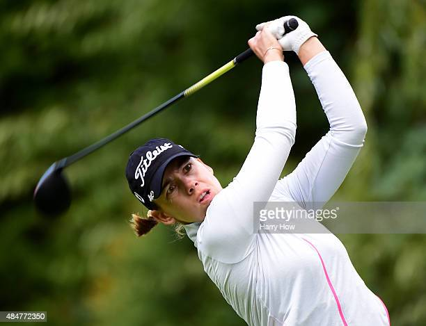 Karine Icher of France hits a tee shot on the 11th hole during the second round of the Canadian Pacific Women's Open at the Vancouver Golf Club on...