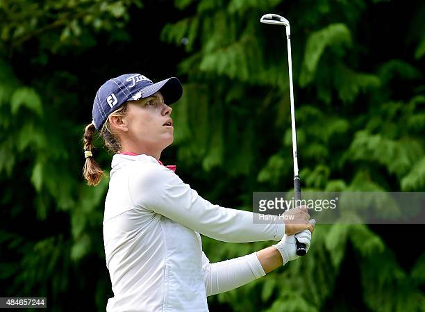 Karine Icher of France hits a tee shot on the 12th hole during the first round of the Canadian Pacific Women's Open at the Vancouver Golf Club on...