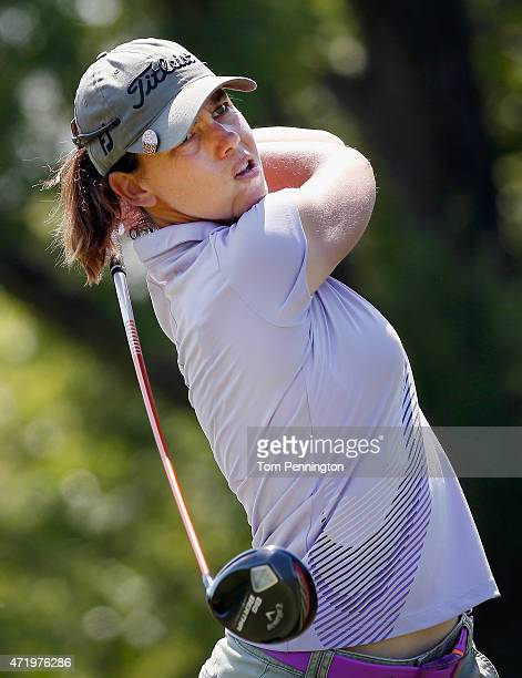 Karine Icher of France hits a tee shot on the seventh hole during Round Three of the 2015 Volunteers of America North Texas Shootout Presented by...