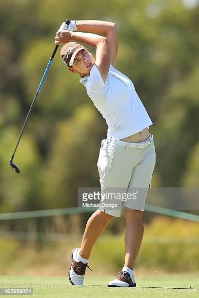 Karine Icher of France hits an approach shot on the 2nd hole during day three of the LPGA Australian Open at Royal Melbourne Golf Course on February...